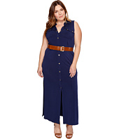 MICHAEL Michael Kors - Plus Size MJ Sleeveless Maxi Shirtdress