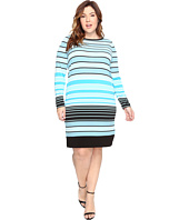 MICHAEL Michael Kors - Plus Size Abbey Stripe Long Sleeve Border Dress