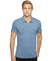 John Varvatos Star U.S.A. - Short Sleeve Soft Collar Knit Polo with Elongated Placket and Chest Pockets K2901T1L