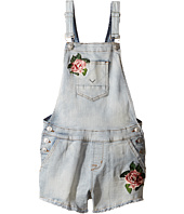 Hudson Kids - Denim Shortall with Floral Embroidery in Medium Stone Wash (Big Kids)