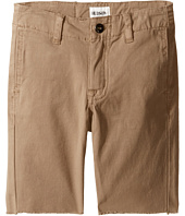 Hudson Kids - Beach Daze Raw Hem Sateen Chino Shorts in Dark Chino (Toddler/Little Kids/Big Kids)