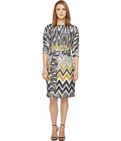 Ellen Tracy - Chevron Printed Dress with Self Belt