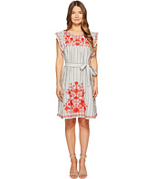 Kate Spade New York - Stripe Embroidered Babydoll Dress