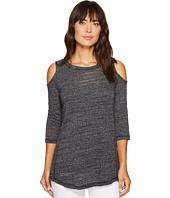 Mod-o-doc - Soft and Slubby Sweater 3/4 Sleeve Cold Shoulder Tunic