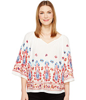 Karen Kane - Embroidered Split Neck Top