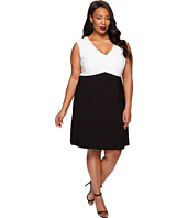 Adrianna Papell - Plus Size Color Blocked Banded Fit and Flare