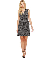 Vince Camuto - Sleeveless Villa Graphic Ribbon Belted Wrap Dress