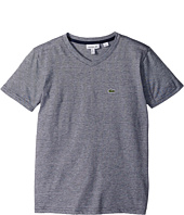 Lacoste Kids - Short Sleeve V-Neck Stripe Tee (Toddler/Little Kids/Big Kids)