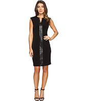 Calvin Klein - Extended Shoulder Dress with Faux Leather & Chain