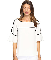 Calvin Klein - Flutter Sleeve Top with Piping