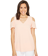Calvin Klein - V-Neck Cold Shoulder Flutter Blouse
