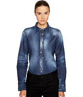 DSQUARED2 - Stretch Denim Shirt with Ruffle Detail
