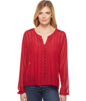 Cruel - Long Sleeve Pleated Blouse w/ Embroidery