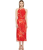 Halston Heritage - Sleeveless High Neck Printed Slip Dress