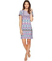 London Times - Ikat Sheild Short Sleeve Shift Dress