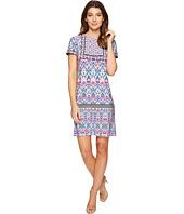 London Times - Ikat Sheild Short Sleeve Shift Dress