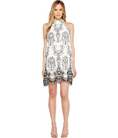 Badgley Mischka - Embroidered Linen Trapeze Dress