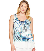 Karen Kane Plus - Plus Size Tropical Sheer Hem Tank Top