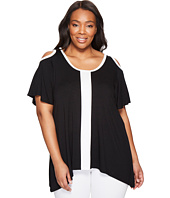 Karen Kane Plus - Plus Size Cold Shoulder Color Block Top