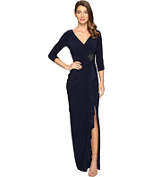 Adrianna Papell - Long Sleeve Side Draped Jersey Gown w/Embellishment