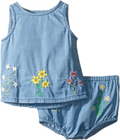 Stella McCartney Kids - Trixie Floral Embroidered Top and Bloomer Chambray Set (Infant)