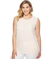 Vince Camuto Specialty Size - Plus Size Sleeveless Sheer Embroidered Stripe Blouse