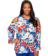Vince Camuto Specialty Size - Plus Size Bell Sleeve Nautical Bloom Cold Shoulder Blouse