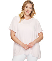 Vince Camuto Specialty Size - Plus Size Short Sleeve High-Low Hem Blouse with Back Yoke Lace