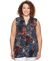 Vince Camuto Specialty Size - Plus Size Sleeveless Floral Coastline V-Neck Top w/ CF Seam