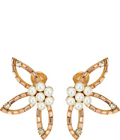 Oscar de la Renta - Floral Baguette Pearl C Earrings