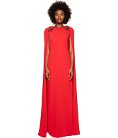 Marchesa Notte - Stretch Crepe Cape Gown w/ Beaded Shoulders