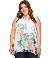 Vince Camuto Specialty Size - Plus Size Sleeveless Havana Tropical High-Low Hem Blouse