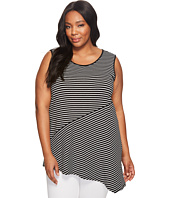 Vince Camuto Specialty Size - Plus Size Sleeveless Asymmetrical Hem Simple Stripe Top