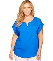 Calvin Klein Plus - Plus Size Short Sleeve Top with Bar Hardware