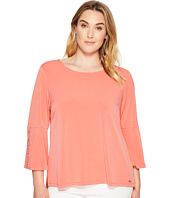 Calvin Klein Plus - Plus Size 3/4 Sleeve Top with Grommet Hardware