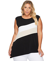 Calvin Klein Plus - Plus Size Sleeveless Angle Bottom Top with Stripe