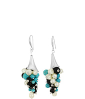 Robert Lee Morris - Mixed Semiprecious Shaky Beaded Sculptural Drop Earrings