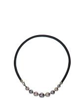 Majorica - Leather Graduated Necklace