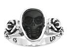Obsidian Skull & Rose Ring