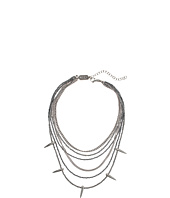King Baby Studio - Multi Layered Necklace w/ Hematite, Silver Chain & Spikes