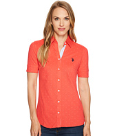 U.S. POLO ASSN. - Knit Printed Pique and Seersucker Shirt