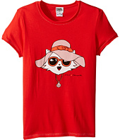 Karl Lagerfeld Kids - Short Sleeve Tee w/ Choupette Print & Gold Lurex Stitch (Big Kids)