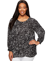 Vince Camuto Specialty Size - Plus Size Long Sleeve Textural Reef Asymmetrical Layered Blouse