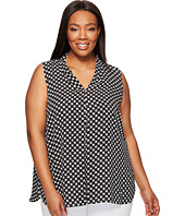 Vince Camuto Specialty Size - Plus Size Sleeveless Nautical Dots Invert Pleat Blouse