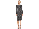 Printed Long Sleeve Viscose Knit Dress