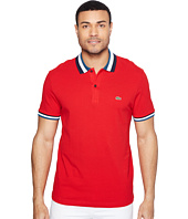 Lacoste - Short Sleeve Semi-Fancy Slim w/ Textured Stripe Collar Slim