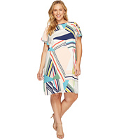 Adrianna Papell - Plus Size Striped Maze Printed Trapeze Cold Shoulder Dress
