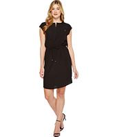 Ivanka Trump - Short Sleeve Slit Neck Tie Waist Dress
