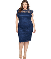 Adrianna Papell - Plus Size Mock Neck, Ruffled Sleeve Lace Sheath Dress