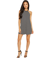 Vince Camuto Specialty Size - Petite Sleeveless Simple Stripe Halter Swing Dress